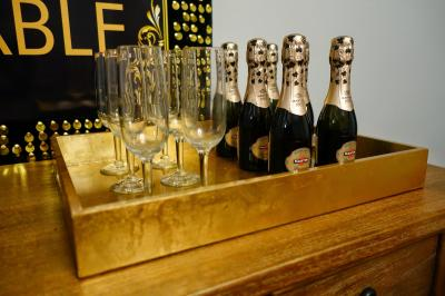 Photo of champagne with flutes.