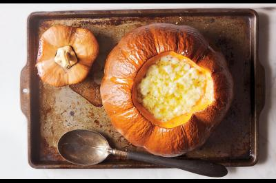 Photo of pumpkin soup with gruyere from Bon Appetit.