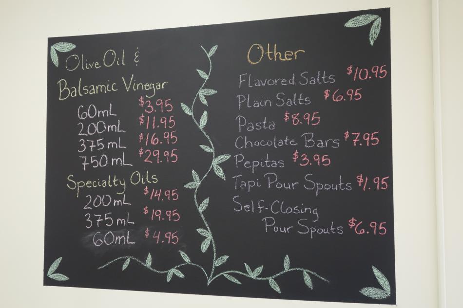 Ellie's Oils Chalkboard