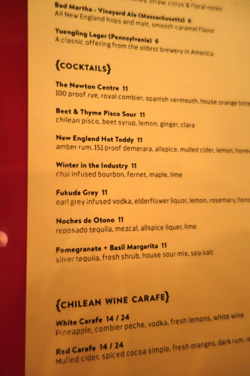 Comedor Cocktail Menu